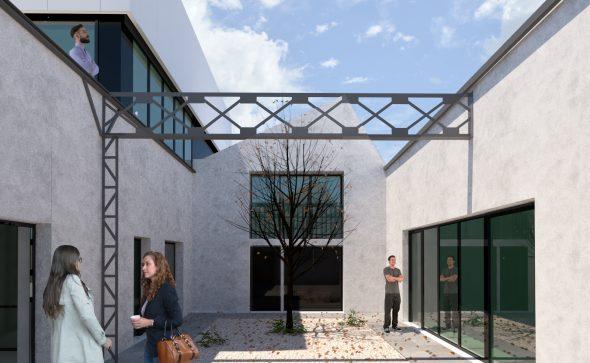 transformation et surélévation d'un ilôt industriel à montreuil, création du siège social de l'entreprise aner. espace de travail patio bureaux espace de convivialité
